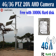 Free Shipping 4G/3G solar camera with 200W solar panels Rotary 1080P Outdoor 2.0MP 20X Zoom with 3000G hard disk