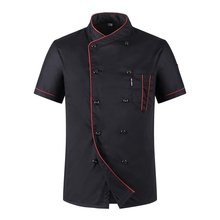 2017 Short-Sleeved Chef Clothing Men's Clothing Uniforms Breathable Clothes Summer Clothing Work Services Kitchen Food Service(China)