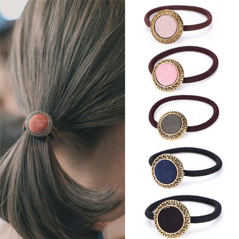 1Pc Simple Temperament Fabric hair accessories for women Korean Elastic Hair Ring Rubber band Button women Hair rope