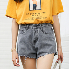 2017 New BF Style High Waist Denim Shorts Women Fashion Fringed Washed Jeans Shorts Women Casual Rip Jean Shorts Pockets