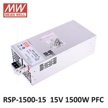 Meanwell 1500W SMPS PFC Function RSP-1500-15 15V DC led power supply 1500W 15V 100A Switching Power Supply Driver for LED Strip(China)