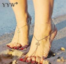 YYW 2017 Newest women girl Antique Chain Anklet Foot Leg Chain Bracelets Jewelry Flower Circles Pattern anklets Body Chain