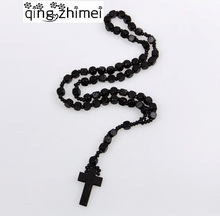 NEW Good hardwood rosary beaded Jesus CROSS wooden pendant necklace for men and women free shipping(China)