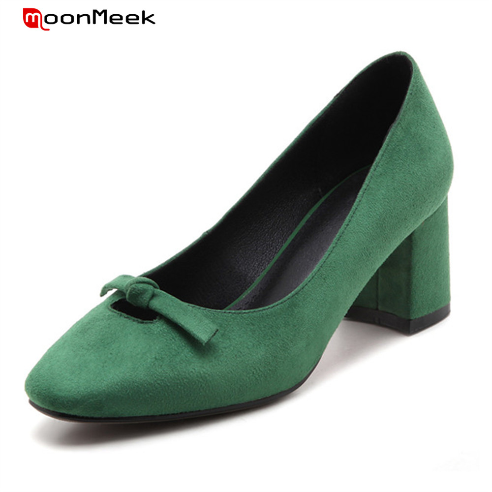 MoonMeek green grey black 2018 spring autumn female shoes with butterfly knot square toe high heels slip on pumps women shoes<br>