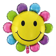 XXPWJ Free shipping 1pcs colorful smile sunflower balloon party supplies balloon Aluminum birthday balloons  G-045