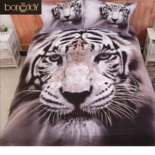 3D Animal Print Bedding Sets Queen Size 4pcs 3D Tiger Bed Sheet Quilt Cover Bed Linen China 2017 White Black Color Duvet Covers(China)