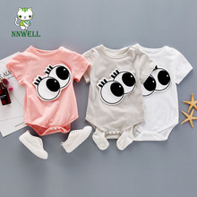 2017 Summer new baby crawing clothes cartoon eye patch climb baby cute clothes Little boys and girls clothing Soft materials(China)