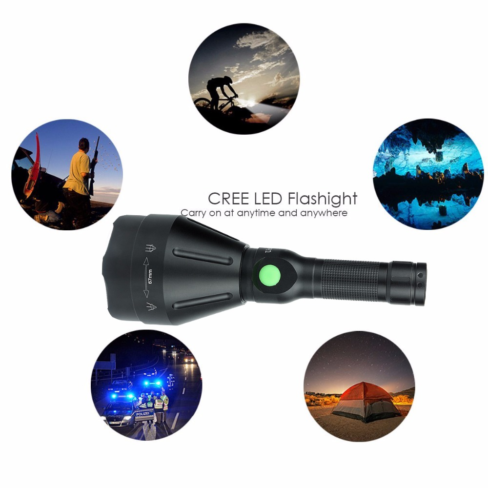 UniqueFire 1603 Cree XRE Zoom Focus LED Flashlight, 67mm Lens Torch,Waterproof Lamp,Power By 18650 Battery,With Charging Cable<br>