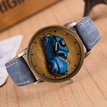 Fashion Personality Cartoon Copper Dial 9 Colors Jeans Band Retro Vintage Wrist Watch Watches For Women Men Girls Boys Student