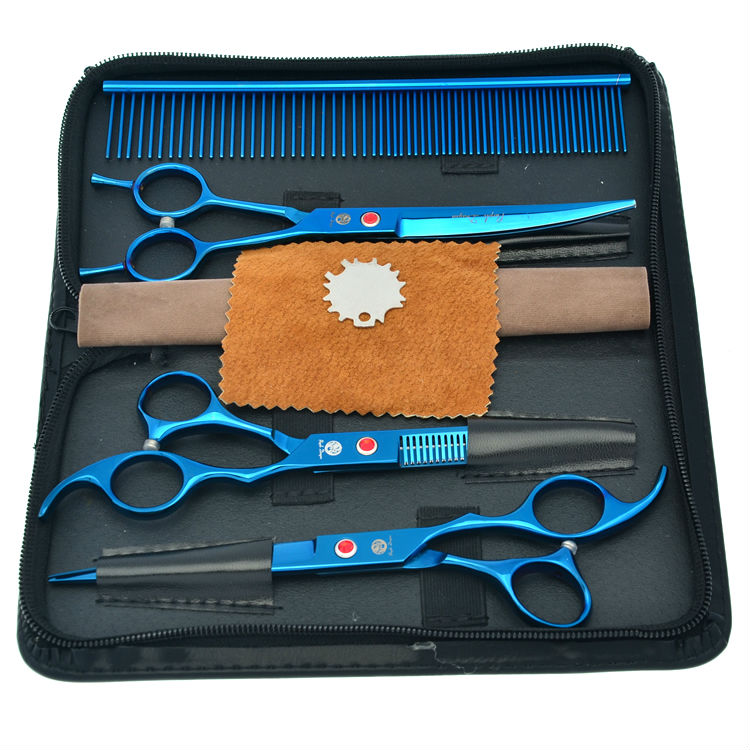 7.0 Electroplating Pet Scissors Set Professional Dog Grooming Shears Straight &amp; Thinning &amp; Curved Scissors, LZS0357<br>