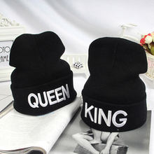 King Queen Beanie Winter Hats Cap Men Women Stocking Hat Beanies Knitted Hiphop Hat Female Couple Warm Winter Cap BLACK HO981612