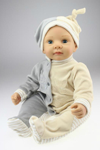 New Promoted Lifelike Neborn Baby Doll 22 inches Silicone Living Doll Emulational Toys Free Shipping(China)