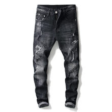 2019 Men New Pants High Street Fashion Men Jeans Loose Fit Harem Pants Black Color Hip Hop Jeans For Jeans,Black Jeans(China)