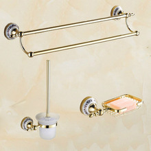 2015 Copper golden Chrome bathroom accessories suite Bathroom double Towel Bar Soap Bars brush holder discbathroom accessories