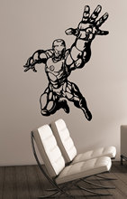 Iron Man Wall Art Decal Tony Stark Vinyl Sticker Marvel Comic Boys Room Superhero Kids Home Accessories Decoration Poster WW-77(China)