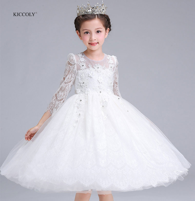 KICCOLY 2018 White Flower Girl Dresses Autumn White Lace Sleeves Dress for Baby Girl Princess Tutu Dress Kids Wedding Gown 5-16Y<br>