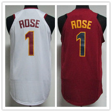 #1 Derrick Rose Basketball Jerseys Embroidery Stitched red white Retro throwback College jersey(China)