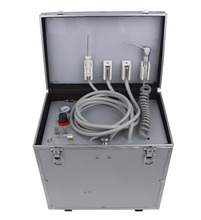 Portable Dental Unit with High & low speed HP Pipe,3 Way Syringe, Oilless Air Compressor, Water bottle, Foot Control