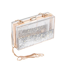 Liquid Quicksand Acrylic Women Evening Clutch Bag Chain Shoulder Handbags Crossbody Hardcase Clutches Wedding Party Prom Purse(China)