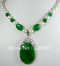 Design White  7-8 Genuine Pearl  oval  Big Green  Jades  pendant  women Jewelry  Necklace 18inches