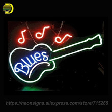 NEON SIGN For Blues Guitar Glass Tube Music Handcrafted With Metal Frame Artwork Great Gifts Night Lamp Super BRIGHT Advertise(China)