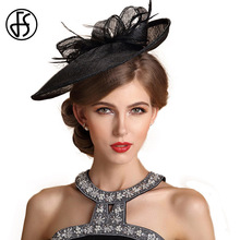 FS Fascinator Black Beige Ladies Formal Linen Pillbox Hat Bowknot Feather Wedding Dress Hats Women Cocktail Party Church Fedora