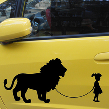 58cm x 27.4cm 2 x Girl Walking A Lion (one For Each Side)Vinyl Decal Sticker Car Window Wall Bumper Kayak Funny Pet Big Cat