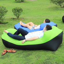 240X72cm Fast Inflatable Camping Sleeping Bag Air Sofa Beach Bed Banana Lounger Air Bed Lazy Laybag With outside bag(China)