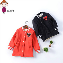 LILIGIRL Jacket For girls 2017 Spring Autumn Clothes For Girls Mickey Coat Warm Plush Baseball Shirt Stripe Casaco 3-9 Years