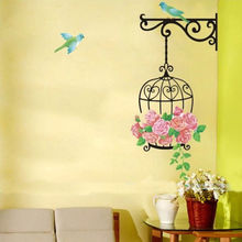 Fashion House Decor Birdhouse Bird Cage Flower Wall Sticker Removable PVC Decal