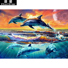 New 5D DIY Diamond Painting Sea sunset dolphin Embroidery Full Square Diamond Cross Stitch Rhinestone Mosaic Painting decor Gift
