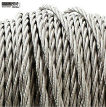 Grey color 100meters/roll free shipping Twisted Silk Braided Vintage Fabric Coloured Lighting Cable 3 core 0.75mm(China)