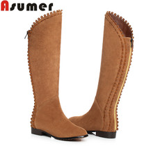 ASUMER Full genuine leather boots for women flat heel zipper fur inside winter boots snow ladies knee high boots sexy shoes