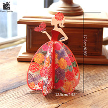Handmade Beautiful Anime Happy Birthday Postcards Paper Laser Cut 3D Pop Up Greeting Blank Flower Girl Mother's Day Gift Cards