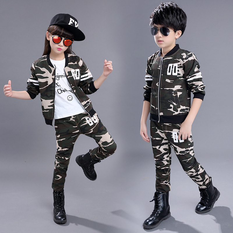 Children of 2-13 t new uniforms children suit, boys and girls fall clothing, camouflage two pieces/sets of letters<br><br>Aliexpress