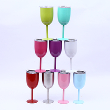 New 10oz Goblet Wine Mugs Colored Double Wall Insulated 300ml Vacuum Stainless Steel Vacuum Flask Drinking Champagne Durable