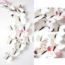 12pc 3D PVC Double Butterfly Wall Sticker for Home Decoration Home Decor Butterfly Fridge Magnet(China)