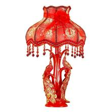 European luxury red Table Lamp Lights Retro Brief Resin Peacock Durable Desk Light Classic Decoration Table Lights(China)