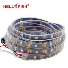 Hello Fish 5m WS2812B Pixels LED Strip IP67 Waterproof, 30 Pixels/m Dream  Color LED Tape White/Black PCB, Free Shipping