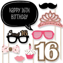 20 pcs/lot Happy 16th Birthday Photo Booth Props on A Stick Fun Girls Birthday Party Decoration Favor Gifts
