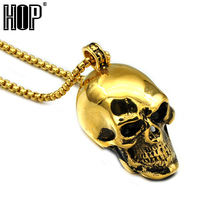 HIP Punk Gold Black Blue Silver Color Stainless Steel Skeleton Skull Pendant Necklaces for Men Jewelry(China)
