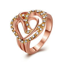 Romantic and High Quality 18 K Rose Gold Love Heart Setting Bling CZ Austria Rings Two Style For Women Bridal Wedding Jewelry(China)