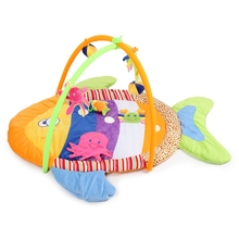 Baby Soft Play Mat Game Blanket Pad Kids Play Fitness Frame Educational Colorful Fish Gym Blanket with Frame Rattle Crawling To