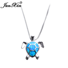 JUNXIN Women Blue Opal Turtles Necklace New Fashion Animal Wedding Jewelry 925 Sterling Silver Filled Necklaces Pendants Gift(China)