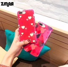 ZMASI Romantic Hearts Soft Cell Case for iPhone X 7 8 Stoving Varnish Case TPU Phone Bag for iPhone 6 6s Plus Back Case Cover(China)