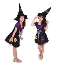 Beautiful Girls witch Halloween Costume with hat fairy Fancy Dress Up for Kids Childrens cosplay costume
