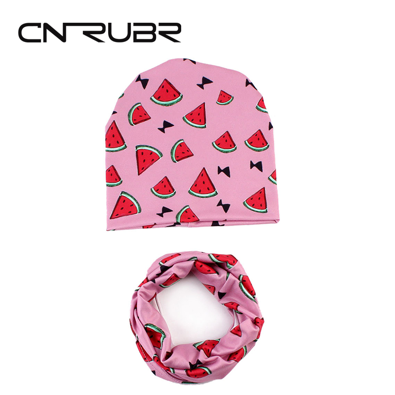 CN-RUBR New Arrival Baby Hat Cotton Fashion Printed Boy Girl Caps Knitted Spring Autumn Warm Hats Scarf Set For Tollder Kids(China)