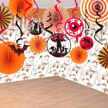 Set of 17 Halloween Decoration Kit Orange Assorted Paper Pinwheels Backdrop Spooky Ceiling Hanging Foil Swirls Halloween Party(China)