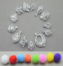 12pcs Pistol Style Beads Pendant Cage Pendant Locket, Wish Pearl Pendant Mounting Silver color