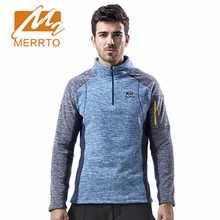 2017 Merrto Mens Fleece Hiking Jackets Thermal Sports Clothing Color Blue Yellow For Men Free Shipping MT19203